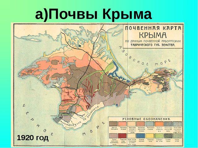 а)Почвы Крыма 1920 год