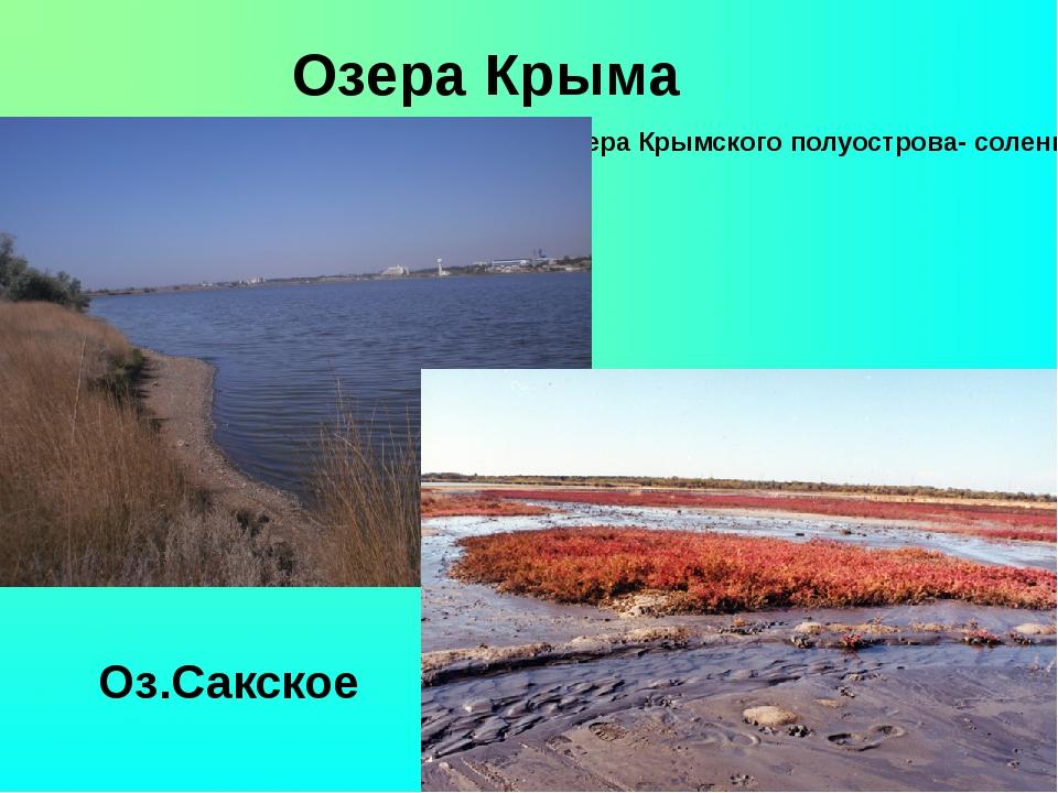 Озера Крыма Все озера Крымского полуострова- соленые. Оз.Сакское Оз.Сакское