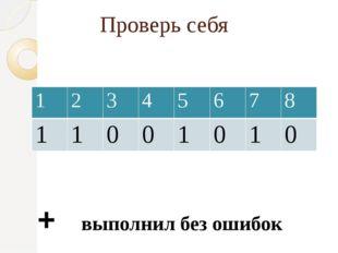 Проверь себя + выполнил без ошибок - допустил ошибки 1 2 3 4 5 6 7 8 1 1 0 0