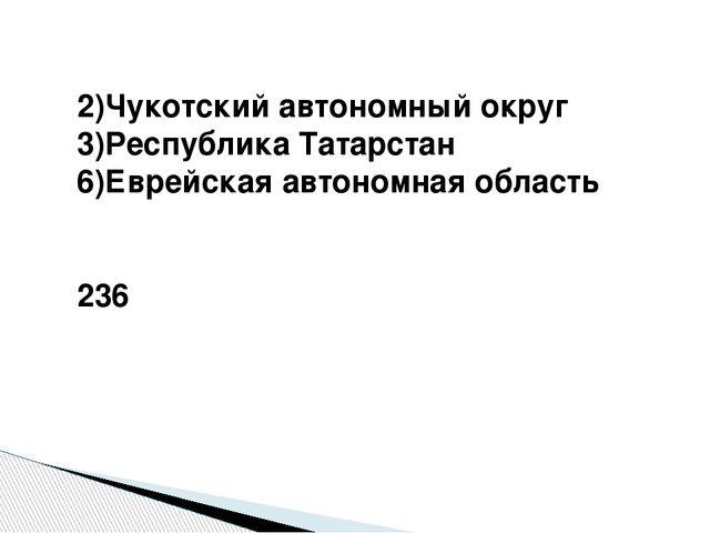 2)Чукотский автономный округ 3)Республика Татарстан 6)Еврейская автономная о...