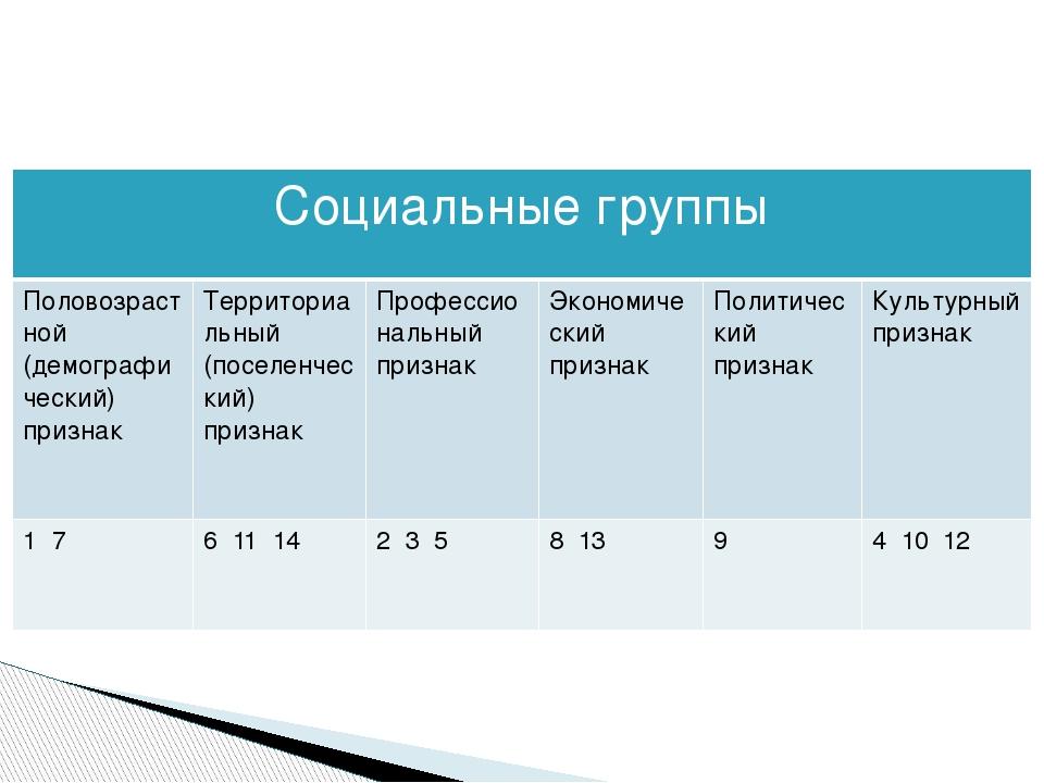 Социальные группы Половозрастной (демографический) признак Территориальный (...
