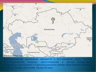 Коргальжинский заповедник находится в юго-западной части Тенгиз-Кургальджинск