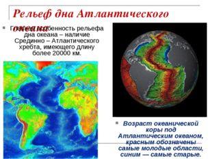 Рельеф дна Атлантического океана Главная особенность рельефа дна океана – нал