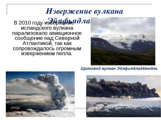 Извержение вулкана Эйяфьядлайёкюдль В 2010 году извержение исландского вулкан...