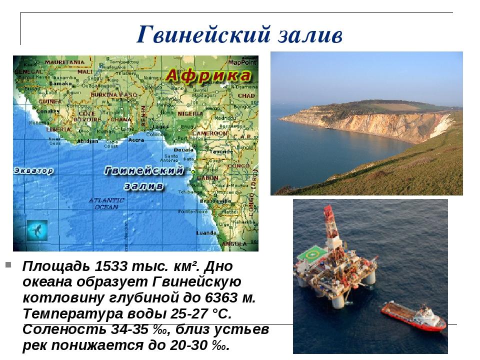 Гвинейский залив Площадь 1533 тыс. км². Дно океана образует Гвинейскую котлов...