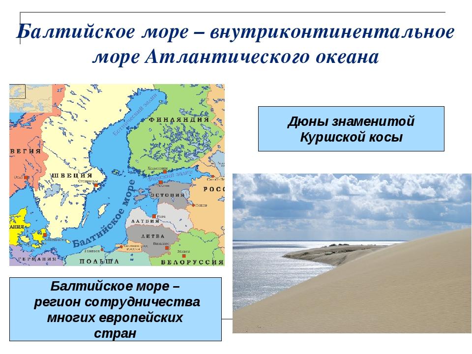 Балтийское море – внутриконтинентальное море Атлантического океана Дюны знаме...