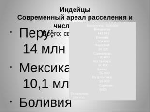 Индейцы Современный ареал расселения и численность Всего: св. 48 000 000 П