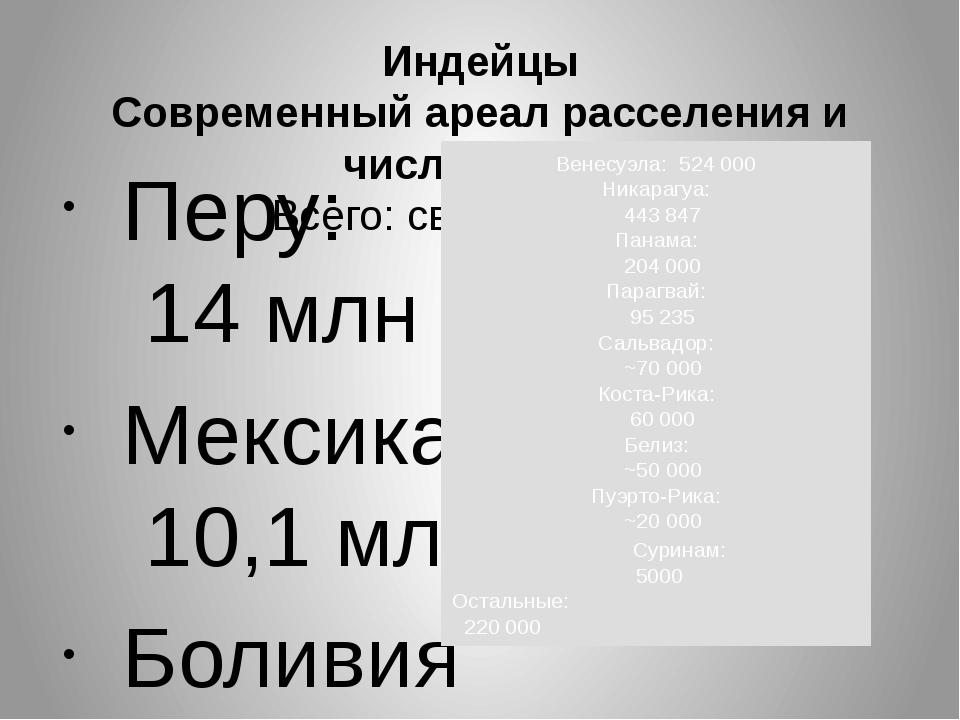 Индейцы Современный ареал расселения и численность Всего: св. 48 000 000 П...