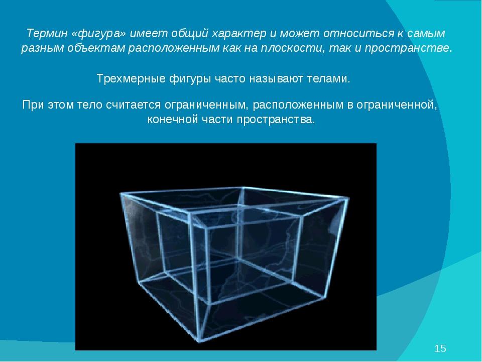Термин «фигура» имеет общий характер и может относиться к самым разным объект...