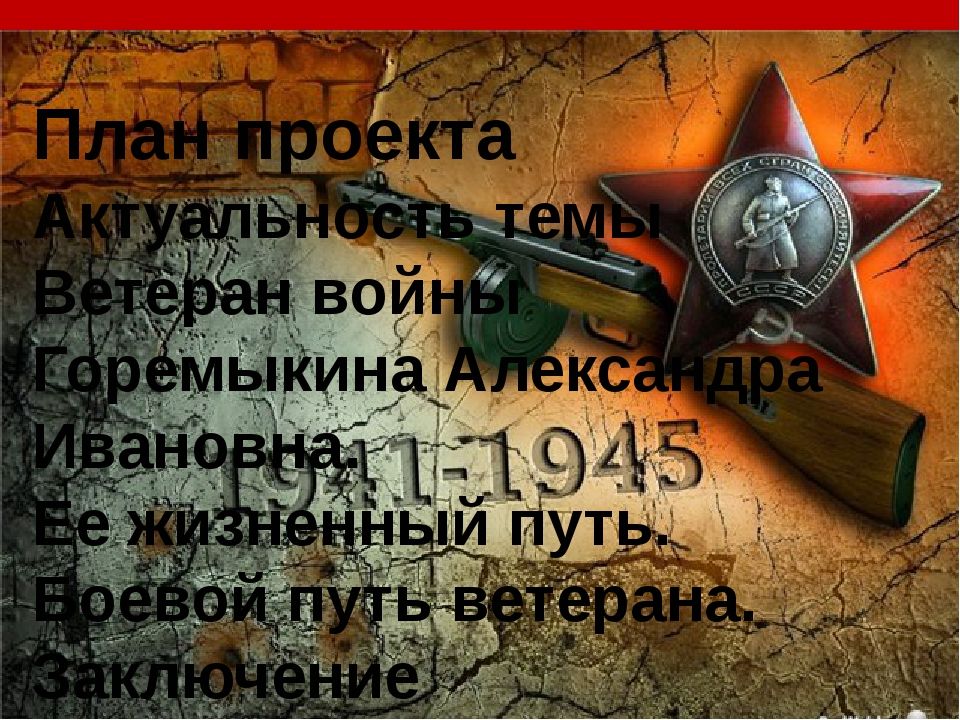 План проекта Актуальность темы Ветеран войны Горемыкина Александра Ивановна....