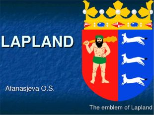 LAPLAND Afanasjeva O.S. The emblem of Lapland