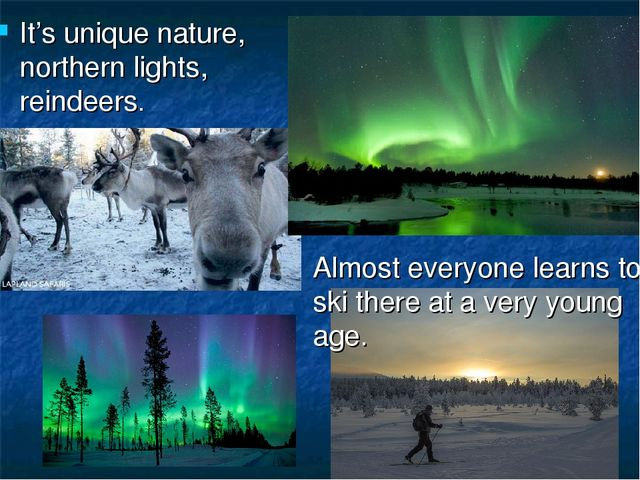 It's unique nature, northern lights, reindeers. Almost everyone learns to ski...