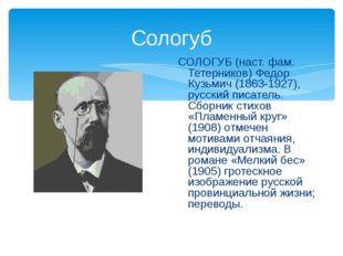Сологуб СОЛОГУБ (наст. фам. Тетерников) Федор Кузьмич (1863-1927), русский пи
