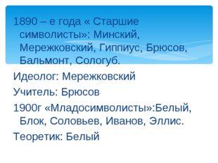 1890 – е года « Старшие символисты»: Минский, Мережковский, Гиппиус, Брюсов,