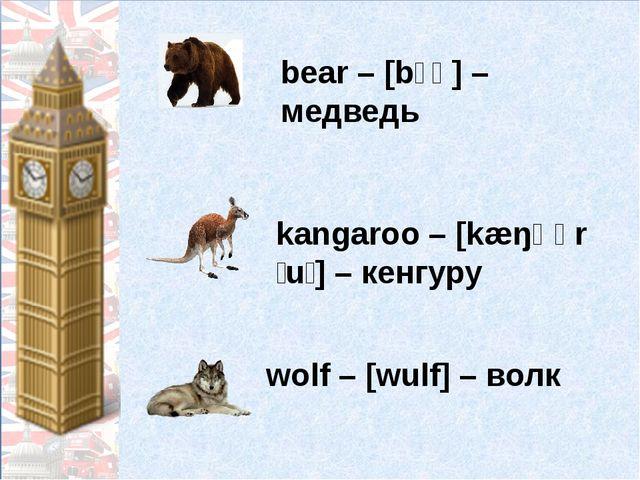 bear – [bɛə] – медведь kangaroo – [kæŋɡərˈuː] – кенгуру wolf – [wulf] – волк