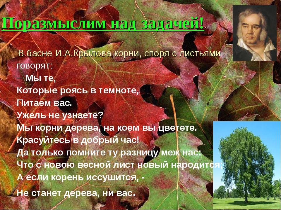 Поразмыслим над задачей! В басне И.А.Крылова корни, споря с листьями говорят...