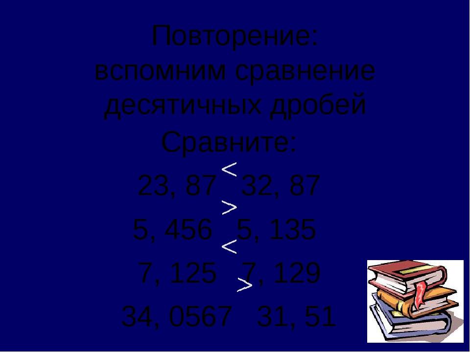 Повторение: вспомним сравнение десятичных дробей Сравните: 23, 87 32, 87 5, 4...