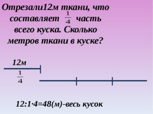 12м 12:1·4=48(м)-весь кусок Отрезали12м ткани, что составляет часть всего кус