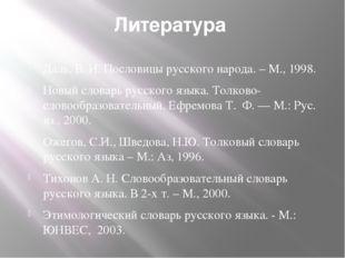 Литература Даль, В. И. Пословицы русского народа. – М., 1998. Новый словарь р