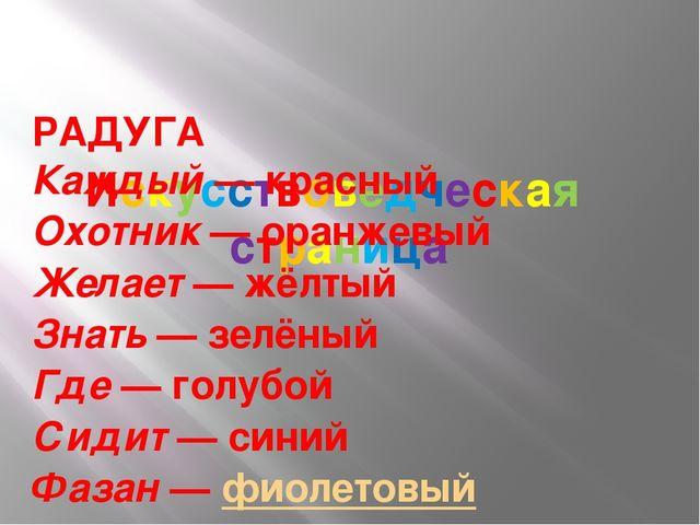 Искусствоведческая страница РАДУГА Каждый—красный Охотник—оранжевый Жела...