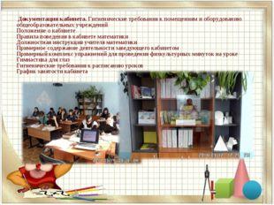 Документация кабинета. Гигиенические требования к помещениям и оборудованию
