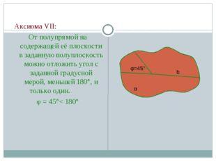 Аксиома VII: От полупрямой на содержащей её плоскости в заданную полуплоскос