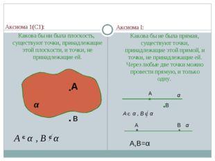 Аксиома 1(С1): Какова бы ни была плоскость, существуют точки, принадлежащие