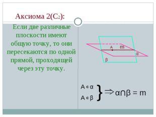Аксиома 2(С2): Если две различные плоскости имеют общую точку, то они пересе