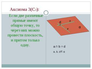 Аксиома 3(С3): Если две различные прямые имеют общую точку, то через них мож