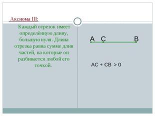 Аксиома III: Каждый отрезок имеет определённую длину, большую нуля. Длина от