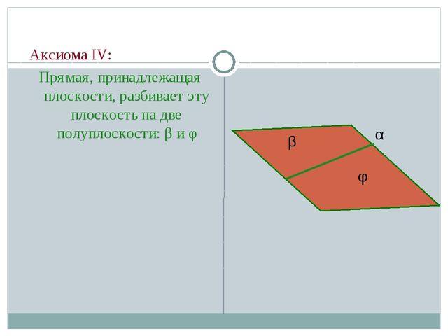 Аксиома IV: Прямая, принадлежащая плоскости, разбивает эту плоскость на две...