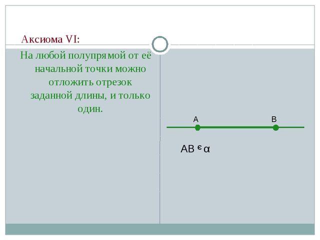 Аксиома VI: На любой полупрямой от её начальной точки можно отложить отрезок...