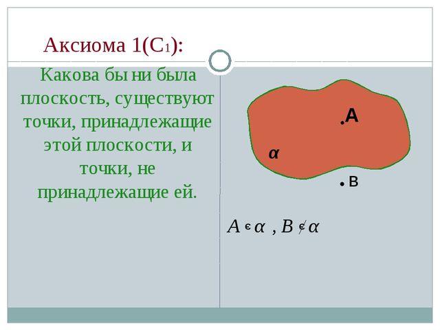 Аксиома 1(С1): Какова бы ни была плоскость, существуют точки, принадлежащие...
