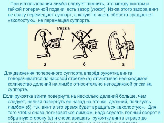 При использовании лимба следует помнить, что между винтом и гайкой поперечно...
