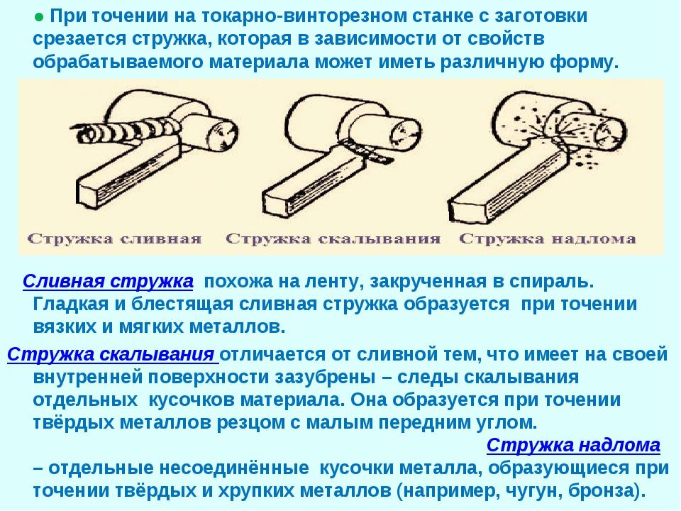 ● При точении на токарно-винторезном станке с заготовки срезается стружка, к...
