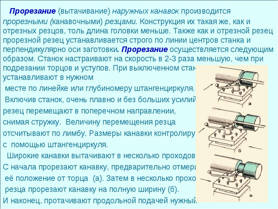 Прорезание (вытачивание) наружных канавок производится прорезными (канавочны...
