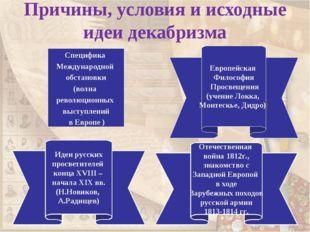 Причины, условия и исходные идеи декабризма Специфика Международной обстанов