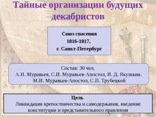 Тайные организации будущих декабристов Союз спасения 1816-1817, г. Санкт-Пете