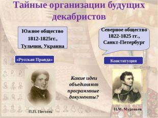 Тайные организации будущих декабристов Южное общество 1812-1825гг., Тульчин,