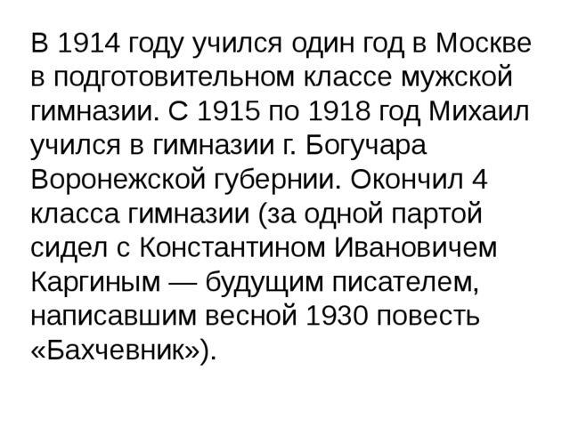 В 1914 году учился один год в Москве в подготовительном классе мужской гимна...