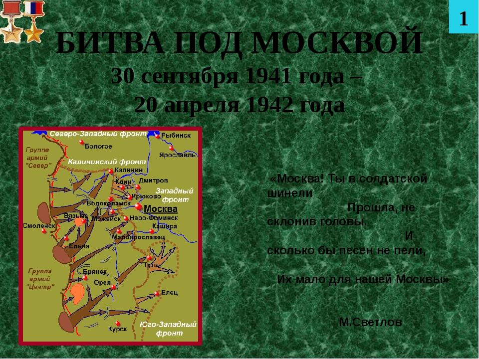БИТВА ПОД МОСКВОЙ 30 сентября 1941 года – 20 апреля 1942 года «Москва! Ты в с...