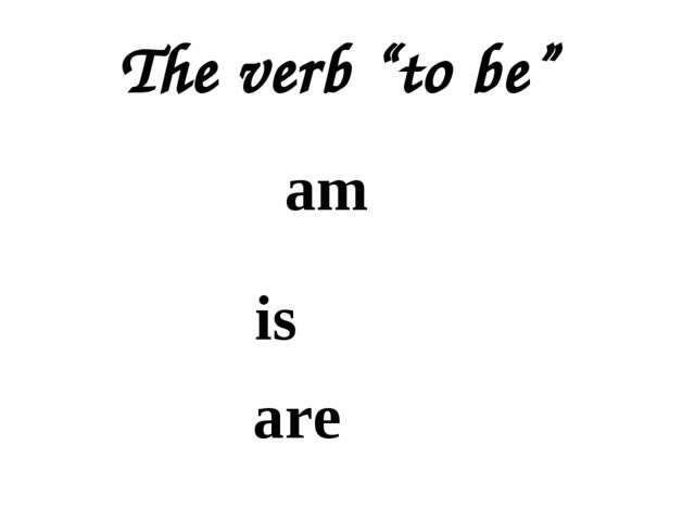 """The verb """"to be"""" am is are"""