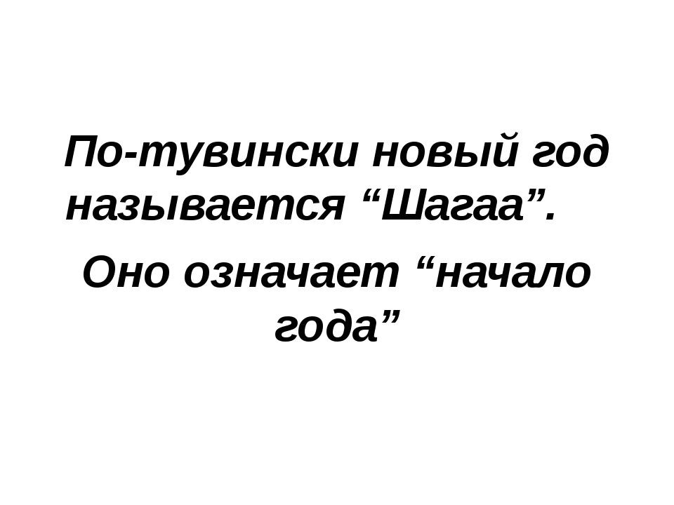 """По-тувински новый год называется """"Шагаа"""". Оно означает """"начало года"""""""