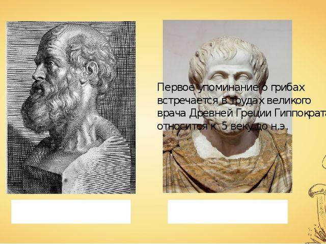 Первое упоминание о грибах встречается в трудах великого врача Древней Греции...