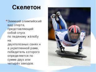 Скелетон Зиммнийолимпийский вид спорта, представляющий собой спуск поледяно