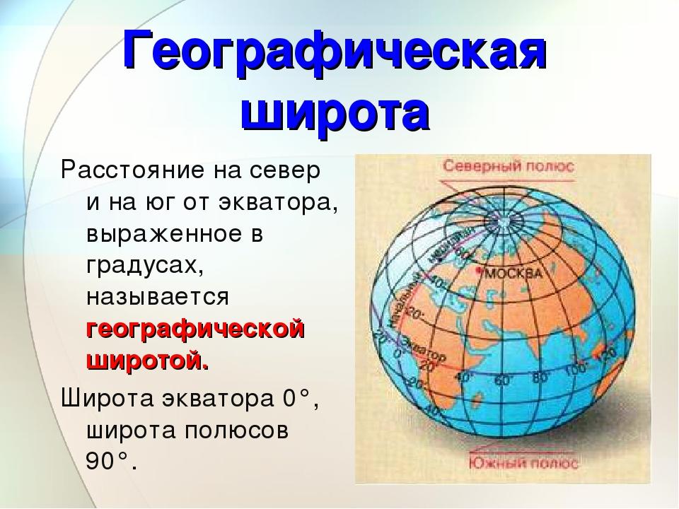 Расстояние на север и на юг от экватора, выраженное в градусах, называется ге...