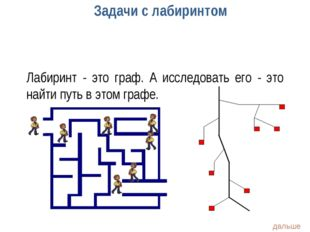 Задачи с лабиринтом Лабиринт - это граф. А исследовать его - это найти путь