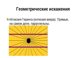 Геометрические искажения Иллюзия Геринга (иллюзия веера). Прямые, на самом д
