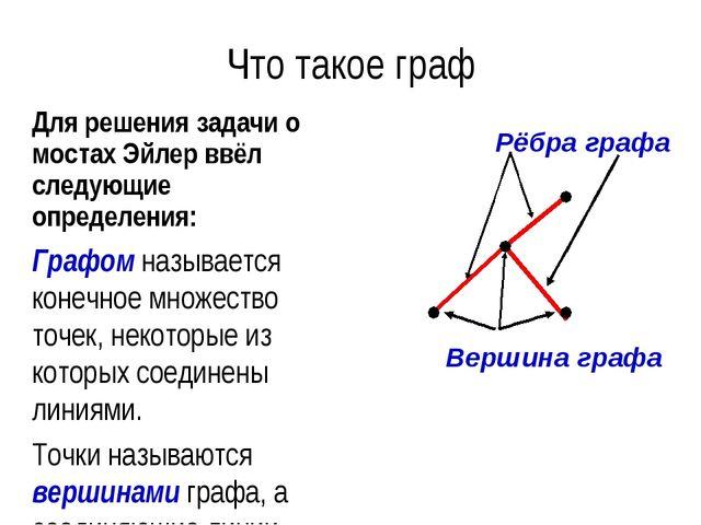 Что такое граф Для решения задачи о мостах Эйлер ввёл следующие определения:...