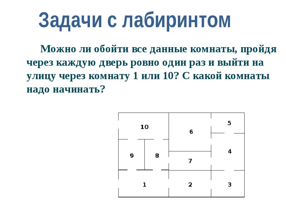 Задачи с лабиринтом Можно ли обойти все данные комнаты, пройдя через каждую...